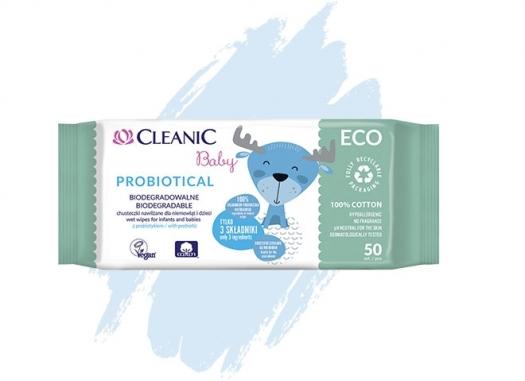 Nawilżane chusteczki dla niemowląt i dzieci  Cleanic Baby ECO Probiotical