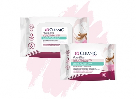 Салфетки для снятия макияжа Cleanic Pure Effect для нормальной и комбинированной кожи