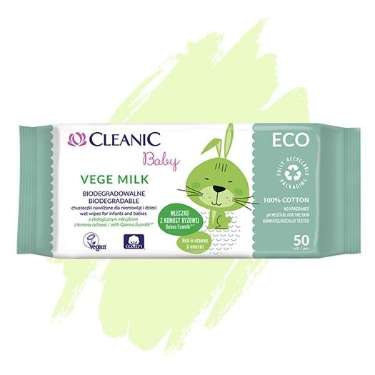 Nawilżane chusteczki dla niemowląt i dzieci Cleanic Baby ECO Vege Milk