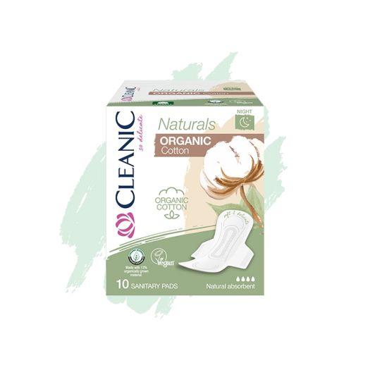 Cleanic Naturals Organic Cotton Night sanitary pads