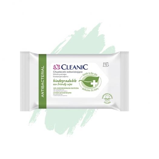 Chusteczki odświeżające Cleanic Antibacterial Biodegradable Eco Friendy Wipe