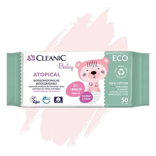 Nawilżane chusteczki dla niemowląt i dzieci  Cleanic Baby ECO Atopical