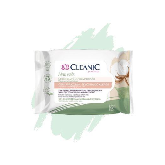 Chusteczki do demakijażu Cleanic Naturals do cery wrażliwej, skłonnej do alergii